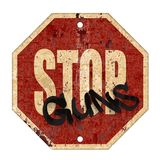 Stop Guns Sign Grunge Vintage. Stop Guns Sign Grunge Rusted Metal Old Road Red Background Art Logo Graffiti stock illustration