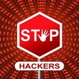Stop Hackers Means Prevent Hacking 3d Illustration. Stop Hackers Meaning Prevent Hacking 3d Illustration Royalty Free Stock Photography