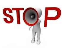 Stop Hailer Shows Halt Warning Refuse And Warn Stock Image