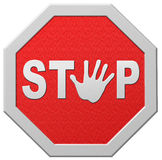 Stop halt red warning road sign stopping. Stop warning road sign hand stopping signpost halt warn for block in red royalty free illustration