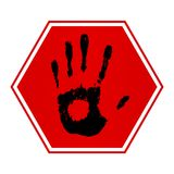 Stop Hand. Illustration of a sign and hand print with a slight brushed metal effect on the red area vector illustration