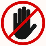 Stop hand black. Stop. Black hand octagonal stop hand sign for prohibited activities. No entry Royalty Free Stock Images