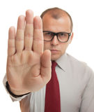 Stop hand gesture. Business man showing stop hand gesture isolated on white Royalty Free Stock Images
