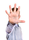 Stop Hand Gesture. Kid shows Stop hand gesture. Isolated on the White Background Stock Image