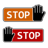 Stop hand gesture labels Royalty Free Stock Images