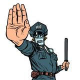Stop hand gesture. Robot policeman. Isolate on white background royalty free illustration