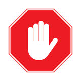 Stop hand sign on white background. STOP sign. No entry. Hand sign isolated on white background. Red octagonal stop. Hand sign for prohibited activities. Stock Royalty Free Stock Image