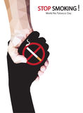 Stop hand to a cigarette for World No Tobacco Day. Vector Stock Photography