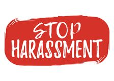 Stop Harassment label. Font with Brush. Equal Rights Badges. Vec Royalty Free Stock Photos