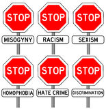 Stop hate crime. Trying to stop all sorts of hate crimes Stock Images