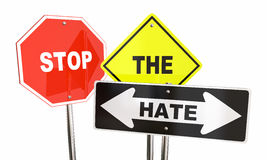 Stop the Hate Road Signs Get Along Together. 3d Illustration Royalty Free Stock Image
