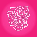 Stop hating start loving monoline hand lettering typography quotes stock de ilustración