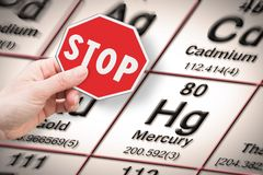 Stop heavy metals - Concept image with hand holding a stop sign against a mercury chemical element with the Mendeleev periodic. Table on background stock photo