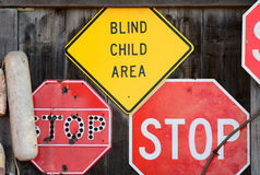 Stop Here Blind Child Royalty Free Stock Photography