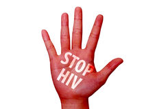 Stop hiv written on woman hand Royalty Free Stock Images