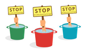 Stop Ice Bucket Challenge. Human hands show from ice buckets a message about Stop Ice Bucket Challenge Stock Photos