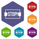 Stop icons set hexagon Royalty Free Stock Photography
