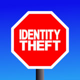 Stop Identity theft sign. On blue sky illustration royalty free illustration