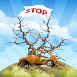 Stop. Illustration with the car on a dump in front of a tree without foliage and flag as appeal to stop environmental pollution stock illustration