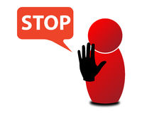 Stop illustration. An illustration of a figure making stop sign with its hand Stock Photos