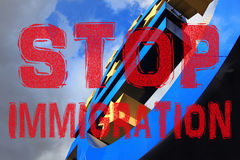 STOP IMMIGRATION, Euro sign at European Central Bank headquarters in Frankfurt, Germany. Stock Images