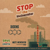 Stop incinerator cardboard illustration. Stop incinerators. Waste incineration plants dioxin emissions. Save the Earth eco illustration on cardboard background Stock Image