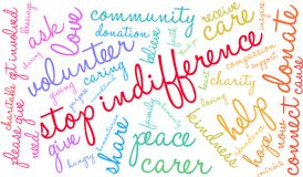 Stop Indifference Word Cloud Royalty Free Stock Photography