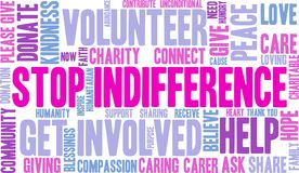 Stop Indifference Word Cloud Stock Photos