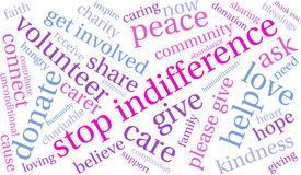 Stop Indifference Word Cloud Stock Photo