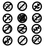 Stop the infection, a set of vector icons of different micro-organisms and bacteria, virus, are wiped out, hygiene Royalty Free Stock Photos