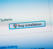 Stop installation button Royalty Free Stock Photos