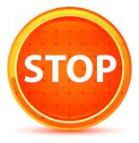 Stop Natural Orange Round Button stock illustration