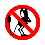Stop Jerboa. ban Steppe animal is forbidden. Red prohibitory roa Stock Photo