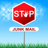 Stop Junk Mail Indicates Spamming Spam And Unwanted. Stop Junk Mail Representing Warning Sign And Forbidden Stock Photo