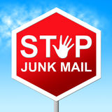 Stop Junk Mail Shows Warning Sign And Danger Stock Photos