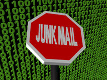 Stop Junk mail sign on binary Stock Image