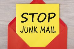 Stop Junk Mail Concept. Stop Junk Mail written on letter in red envelope. Business concept Stock Photos