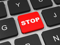 STOP key on keyboard of laptop computer. Stock Photos