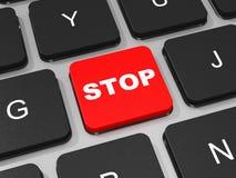 STOP key on keyboard of laptop computer. 3D illustration Stock Photos