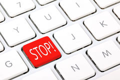 Stop keyboard key. White keyboard with red stop button Stock Photography