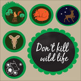 Stop kill animals - 6 labels Royalty Free Stock Photography