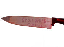 Stop knife crime concept on white background Stock Photos
