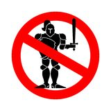 Stop Knight . Ban warrior medieval. Red prohibitory road sign. V. Ector illustration Vector Illustration