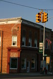 Stop Light. Small town stoplight and building Stock Photography