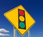 Stop Light Ahead Yellow Reflective Warning Sign Stock Photography