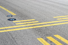 Stop line on taxiway Stock Images