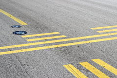 Stop line on taxiway Royalty Free Stock Image