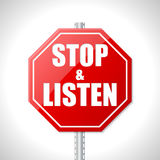 Stop and listen traffic sign Royalty Free Stock Photo
