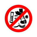 Stop littering. Ban garbage. It is forbidden to litter. red circ Royalty Free Stock Photos