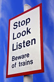 Stop Look Listen. Sign with blue sky royalty free stock photos